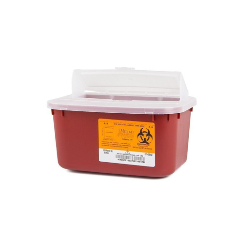 Sharps Container, Medegen, Stackable, Tortuous Path Lid, 1 Gallon - Red - SHP-8703-1