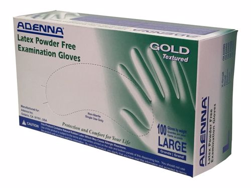 Latex Glove, Adenna Gold,  Textured, Powdered Free