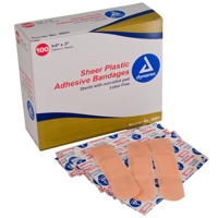 Adhesive Bandage - Sheer Plastic - Dynarex - 3-4 x 1 - ADH-3601-1