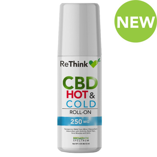 ReThink CBD Roll-On Cream - 250 mg - HOT and COLD Bottle